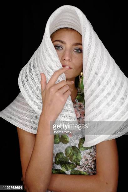 A model poses backstage ahead of the Sportalm Kitzbuehel show during the Berlin Fashion Week Spring/Summer 2020 at ewerk on July 03 2019 in Berlin...