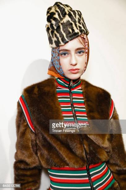 A model poses backstage ahead of the Stella Jean show during Milan Fashion Week Fall/Winter 2017/18 on February 26 2017 in Milan Italy