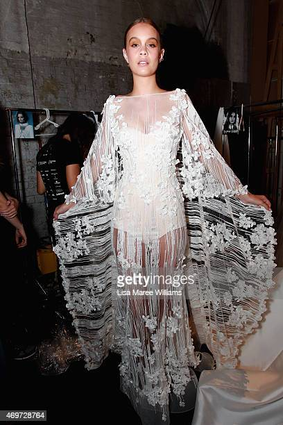 A model poses backstage ahead of the Steven Khalil show at MercedesBenz Fashion Week Australia 2015 at Carriageworks on April 15 2015 in Sydney...