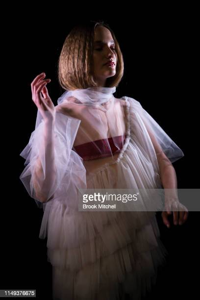 A model poses backstage ahead of the StGeorge NextGen show at MercedesBenz Fashion Week Resort 20 Collections at Carriageworks on May 16 2019 in...