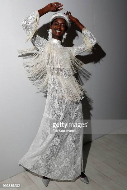 A model poses backstage ahead of the Still Still Studio show at MercedesBenz Fashion Week Resort 19 Collections at Carriageworks on May 17 2018 in...