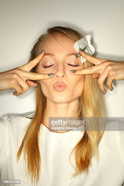 A model poses backstage ahead of the Suboo show during MercedesBenz Fashion Week Australia Spring/Summer 2013/14 at Carriageworks on April 11 2013 in...