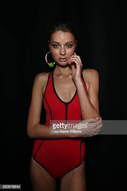 A model poses backstage ahead of the Swim show at MercedesBenz Fashion Week Resort 17 Collections at Carriageworks on May 19 2016 in Sydney Australia
