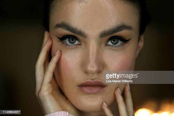 Model poses backstage ahead of the Thurley show at Mercedes-Benz Fashion Week Resort 20 Collections at Carriageworks on May 15, 2019 in Sydney,...
