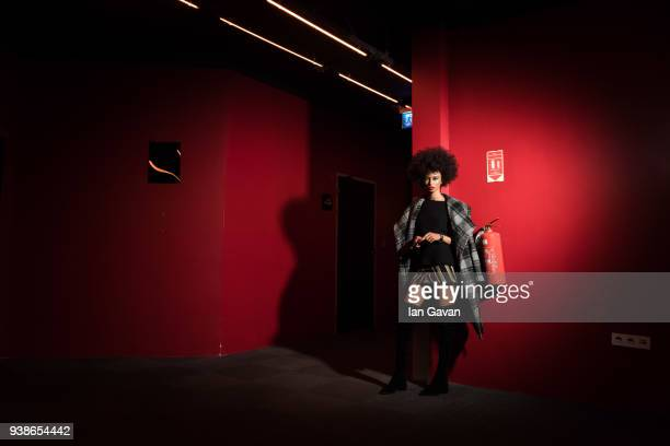 A model poses backstage ahead of the Urun show during MercedesBenz Istanbul Fashion Week at the Zorlu Performance Hall on March 27 2018 in Istanbul...