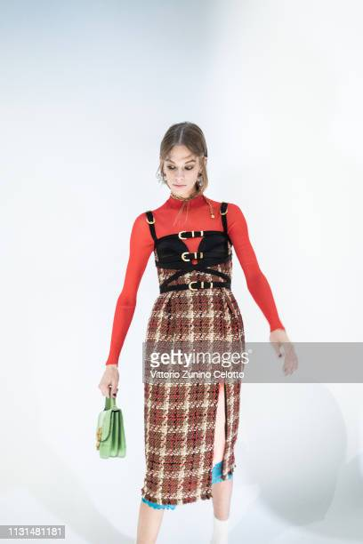 A model poses backstage ahead of the Versace show at Milan Fashion Week Autumn/Winter 2019/20 on February 22 2019 in Milan Italy
