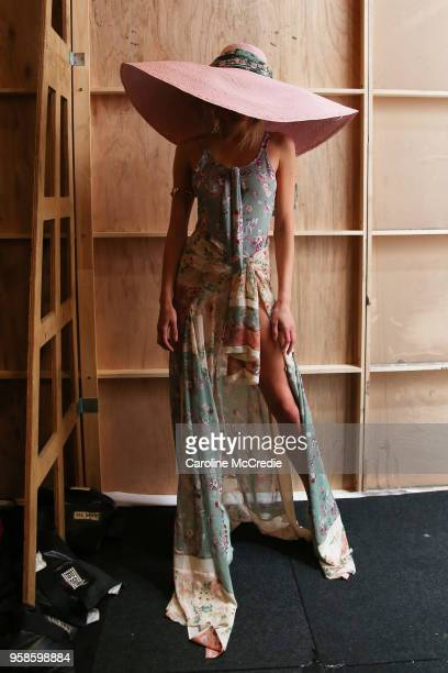 A model poses backstage ahead of the We Are Kindred show at MercedesBenz Fashion Week Resort 19 Collections at Carriageworks on May 15 2018 in Sydney...