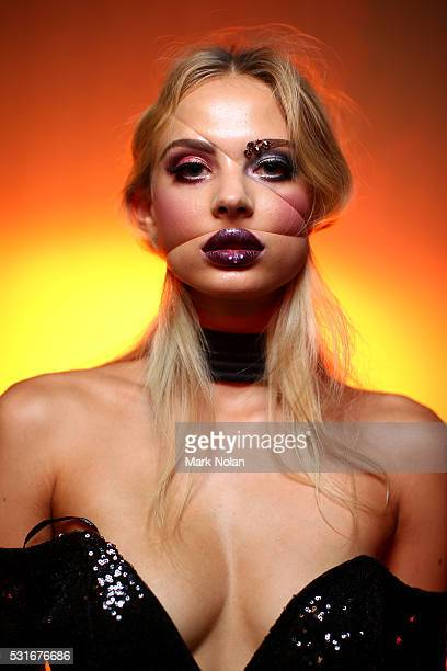 A model poses backstage ahead of the Zhivago show at MercedesBenz Fashion Week Resort 17 Collections at Carriageworks on May 16 2016 in Sydney...