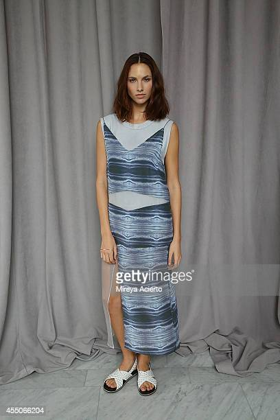 A model poses backstage at Collina Strada presentation during MADE Fashion Week Spring 2015 at The Standard Hotel on September 9 2014 in New York City