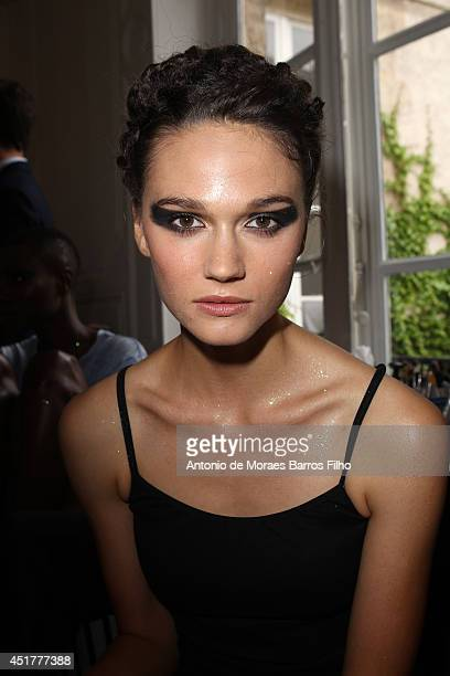 Model poses Backstage at Fred Sathal show as part of Paris Fashion Week - Haute Couture Fall/Winter 2014-2015 at La Cour du Marais on July 6, 2014 in...