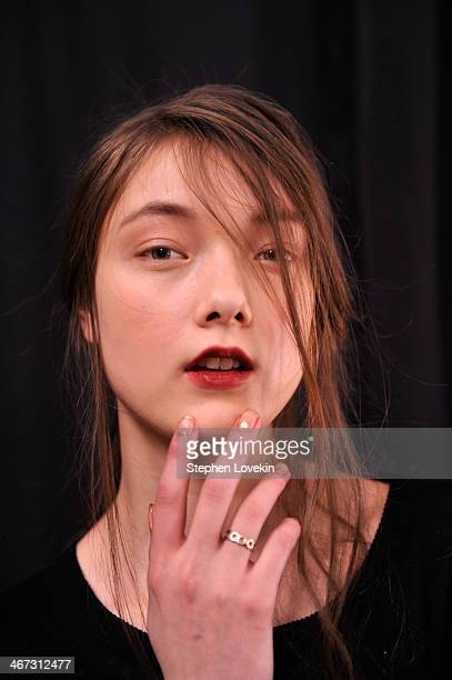A model poses backstage at Tadashi Shoji fashion show during MercedesBenz Fashion Week Fall 2014 at The Salon at Lincoln Center on February 6 2014 in...