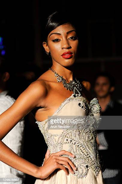A model poses backstage at the Amato Haute Couture show during Style Fashion Week LA at Vibiana on October 21 2011 in Los Angeles California