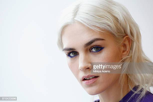 A model poses backstage at the Anna K fashion show during Fall 2016 MADE Fashion Week at Milk Studios on February 15 2016 in New York City
