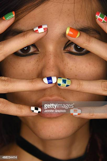 A model poses backstage at the CND for Libertine S/S 2016 fashion show during New York Fashion Week at The Gallery Skylight at Clarkson Sq on...