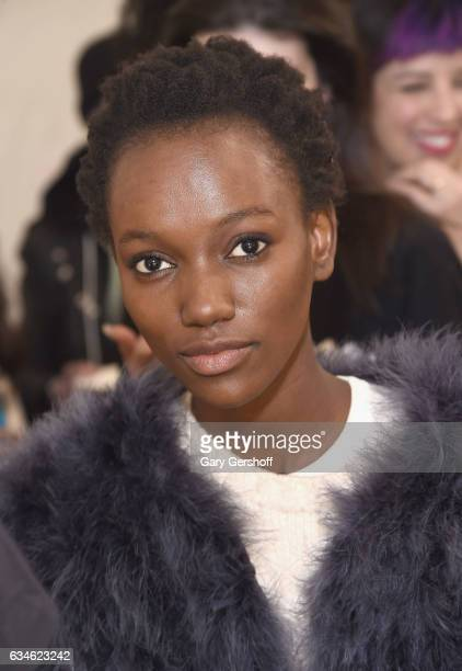 A model poses backstage at the Cushnie Et Ochs fashion show during February 2017 New York Fashion Week at Gallery 1 Skylight Clarkson Sq on February...
