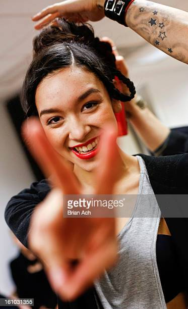 A model poses backstage at the Elena V RTW fall 2013 fashion show during MercedesBenz Fashion Week at Ukrainian Museum on February 8 2013 in New York...