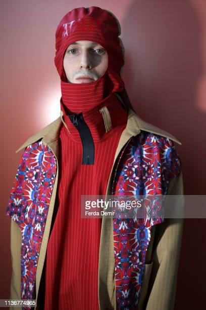 A model poses backstage at the Emre Pakel show during MercedesBenz Istanbul Fashion Week at the Zorlu Performance Hall on March 19 2019 in Istanbul...