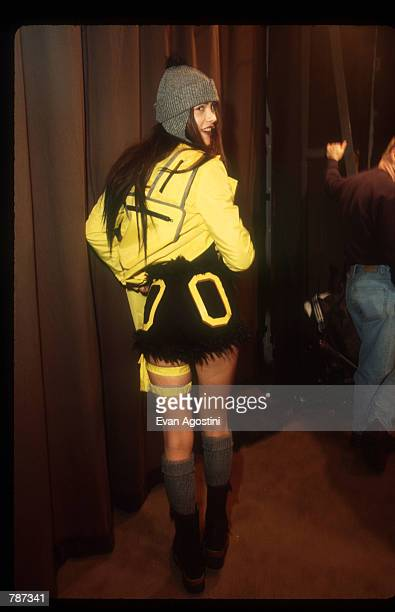 Model poses backstage at the Fall/Winter 1999 Girls Rule! Fashion Show February 16, 1999 in New York City. The show is the only Junior...