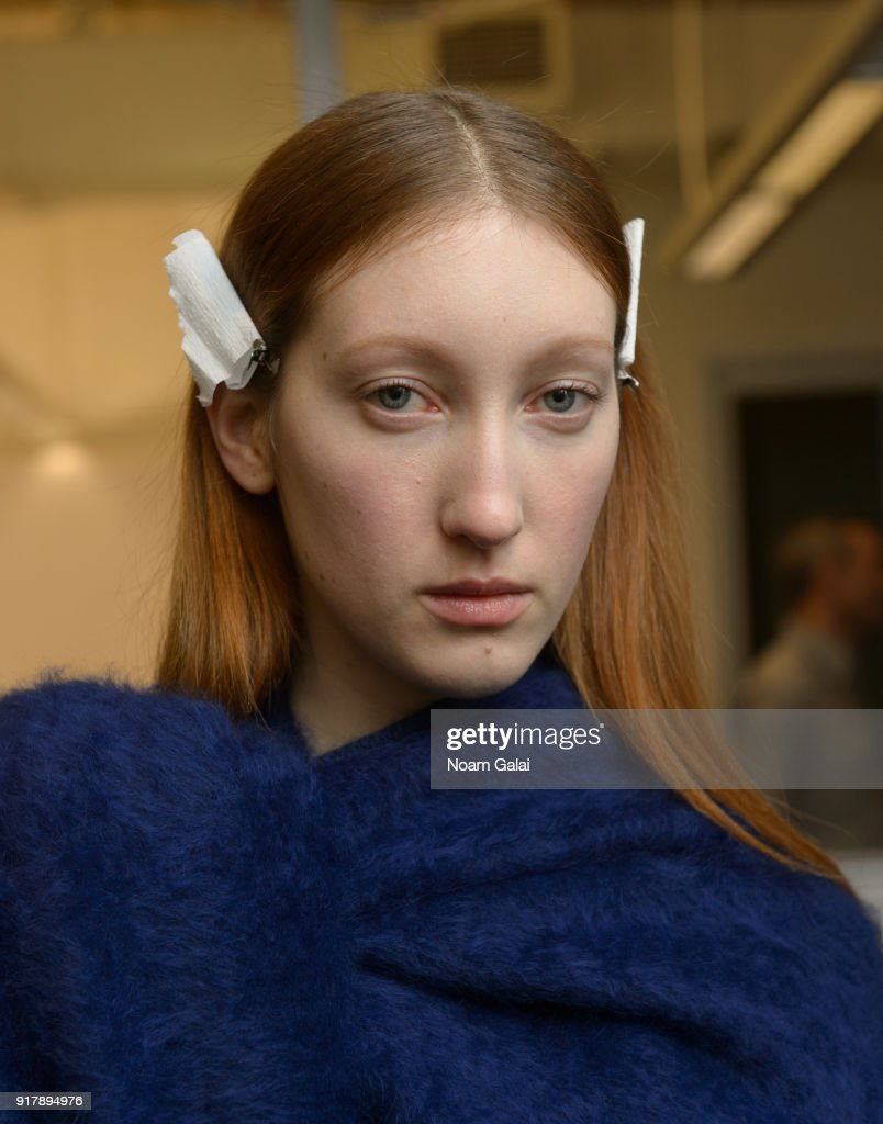 A model poses backstage at the Gabriela Hearst fashion show during New York Fashion Wee on February 13, 2018 in New York City.