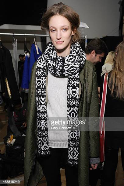 Model poses backstage at the ICB By Prabal Gurung Show during Mercedes-Benz Fashion Week Fall 2014 at Eyebeam on February 11, 2014 in New York City.