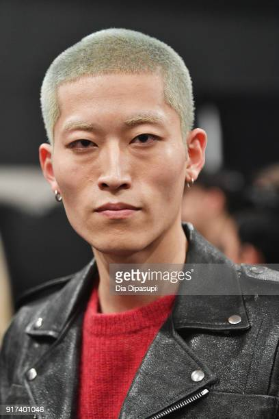 A model poses backstage at the John Elliott fashion show during New York Week The Shows at Gallery II at Spring Studios on February 12 2018 in New...