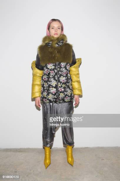 Model poses backstage at the Kim Shui presentation at Gallery 151 on February 10, 2018 in New York City.