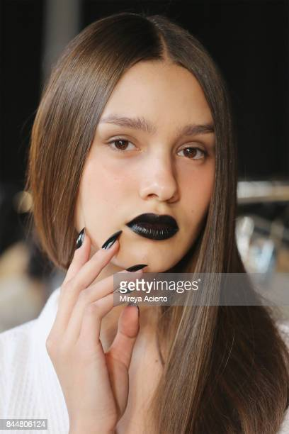 A model poses backstage at the Linder fashion show during New York Fashion Week on September 8 2017 in New York City