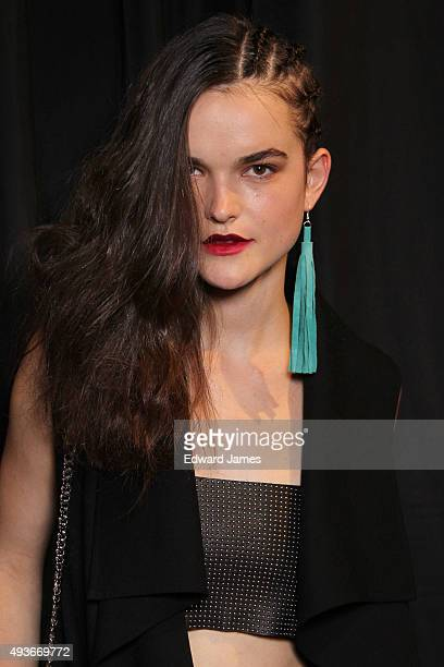 A model poses backstage at the Mackage Spring/Summer 2016 fashion show during World Mastercard fashion week on October 21 2015 at David Pecaut Square...