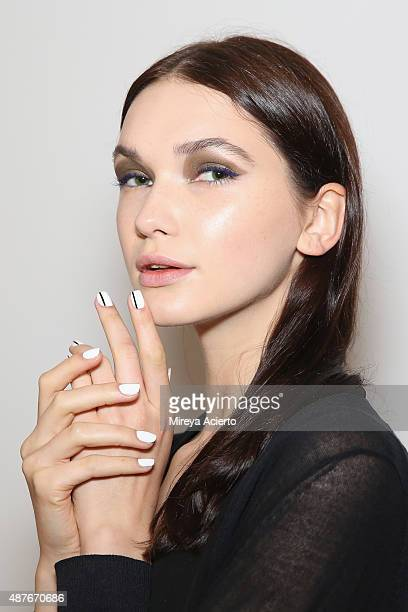 Model poses backstage at the Marissa Webb fashion show during Spring 2016 MADE Fashion Week at Milk Studios on September 10, 2015 in New York City.