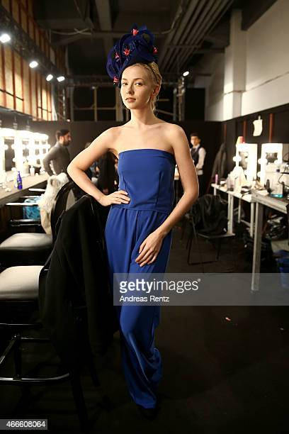 A model poses backstage at the Merve Bayindir show during Mercedes Benz Fashion Week Istanbul FW15 on March 17 2015 in Istanbul Turkey