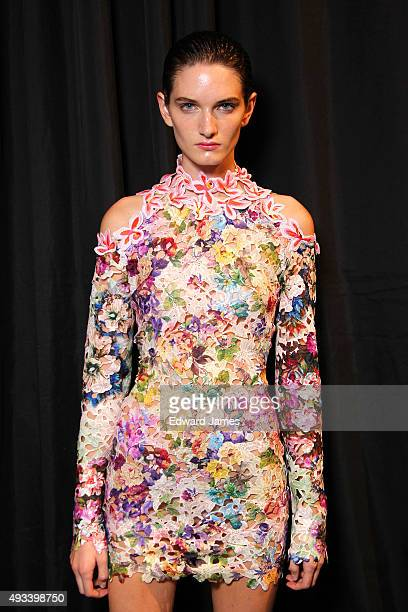A model poses backstage at the Mikhael Kale Spring/Summer 2016 fashion show during World Mastercard fashion week on October 19 2015 at David Pecaut...