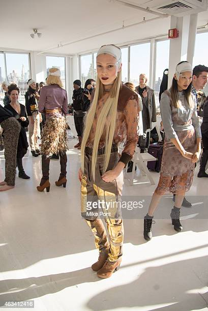 A model poses backstage at the Nina Athanasiou fashion show during Mercedes Benz Fashion Week Fall 2015 at The Designer's Loft on February 13 2015 in...