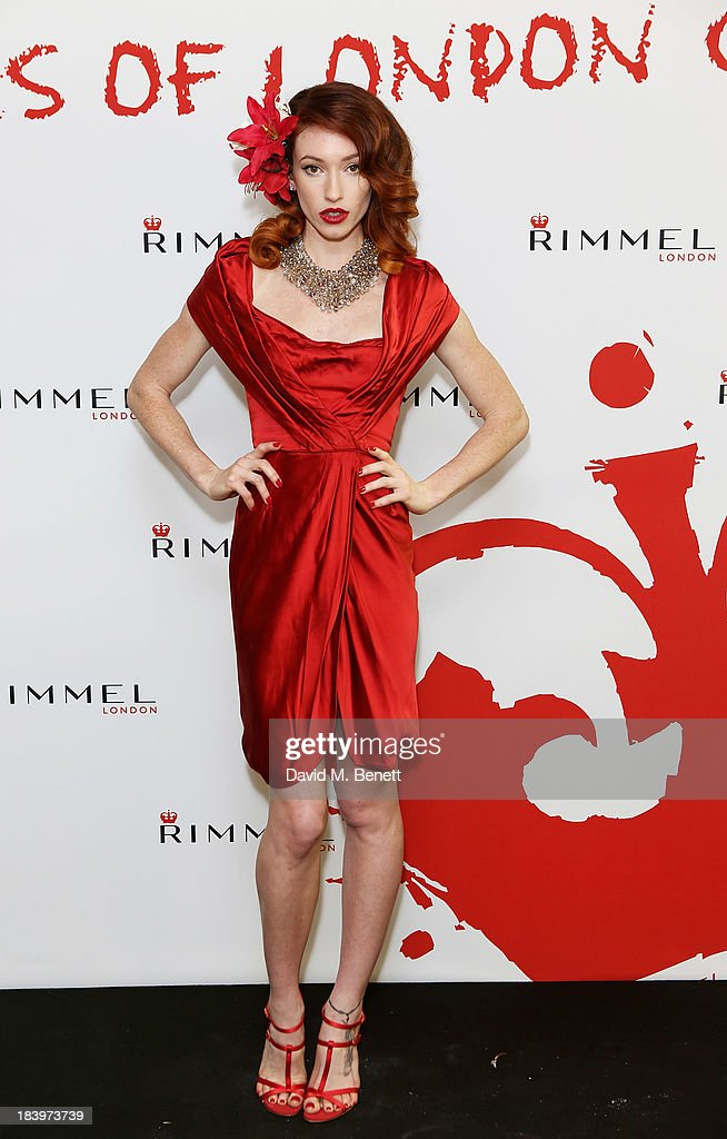 A model poses backstage at the Rimmel London 180 Years of Cool party at the London Film Museum on October 10, 2013 in London, England.
