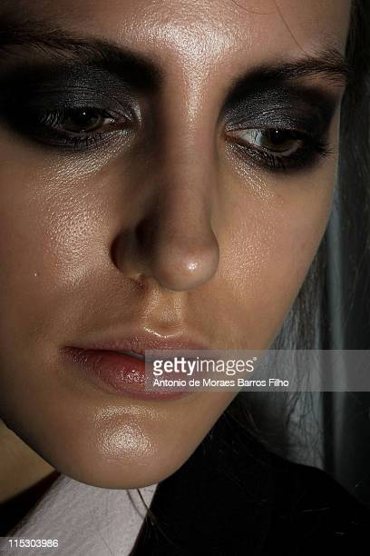 A model poses backstage at the runway during the Devastee Ready to Wear show as part of the Paris Fashion Week Fall/Winter 2011 at BETC EURO RSCG on...