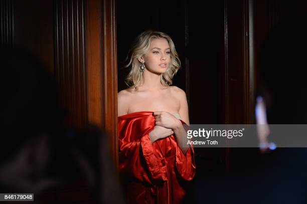 A model poses backstage at the Sherri Hill NYFW SS18 fashion show at Gotham Hall on September 12 2017 in New York City