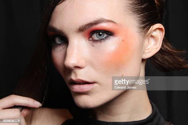 A model poses backstage at the Tatsuaki Spring/Summer 2016 fashion show during World Mastercard fashion week on October 22 2015 in Toronto Canada