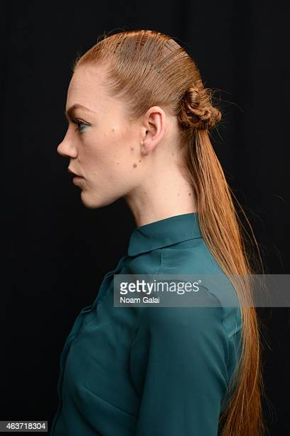 A model poses backstage at the The Art Institutes fashion show during MercedesBenz Fashion Week Fall 2015 at The Theatre at Lincoln Center on...