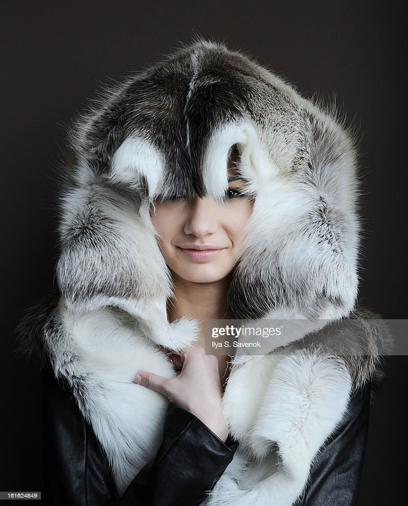 A model poses backstage at the Titania Inglis fall 2013 presentation during MADE Fashion Week at The Standard Hotel - High Line Room on February 13, 2013 in New York City.