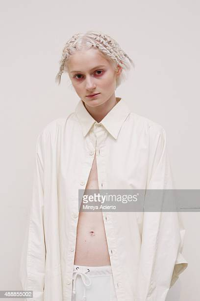 A model poses backstage at the Verge Queer New York fashion show during Spring 2016 New York Fashion Week at Brooklyn Museum on September 17 2015 in...