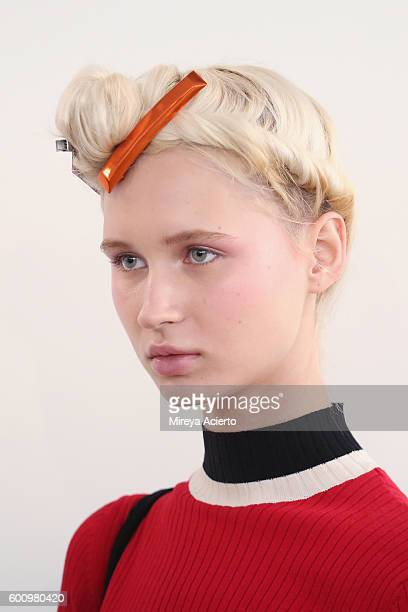 A model poses backstage before the Adam Selman fashion show during MADE Fashion Week September 2016 at Milk Studios on September 8 2016 in New York...