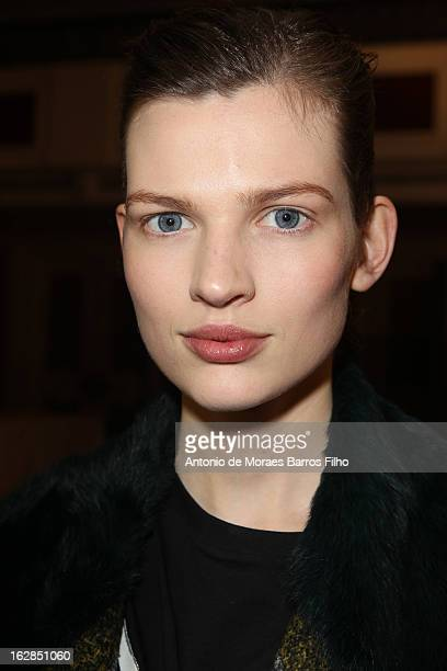 Model poses backstage before the Barbara Bui Fall/Winter 2013 Ready-to-Wear show as part of Paris Fashion Week on February 28, 2013 in Paris, France.