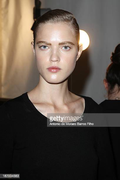 Model poses backstage before the Christian Dior show as part of the Paris Fashion Week Womenswear Spring/Summer 2014 on September 27, 2013 in Paris,...
