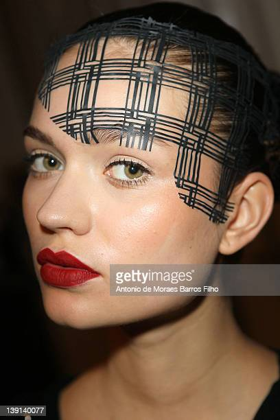 Model poses backstage before the Corrie Nielsen Autumn/Winter 2012 show at London Fashion Week at Somerset House on February 17, 2012 in London,...