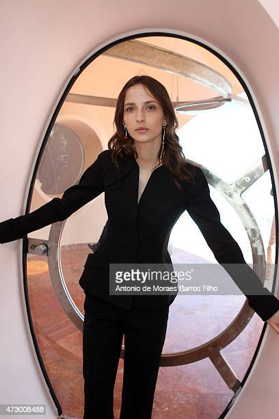 A model poses backstage before the Dior Croisiere 2016 show at 'Palais Bulle Bubble Palace' on May 11 2015 in French Riviera France