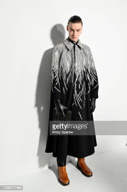 A model poses backstage before the Dior Homme Menswear Fall/Winter 20202021 show as part of Paris Fashion Week on January 17 2020 in Paris France