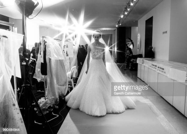 Model poses backstage before the Georges Hobeika Haute Couture Fall Winter 2018/2019 show as part of Paris Fashion Week on July 2, 2018 in Paris,...