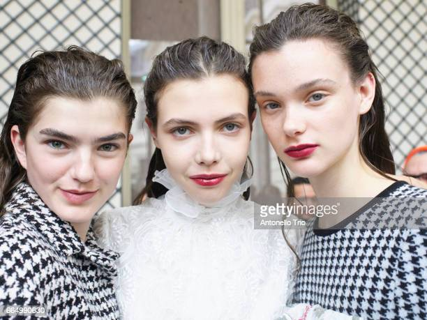 A model poses backstage before the Giambattista Valli show as part of the Paris Fashion Week Womenswear Fall/Winter 2017/2018 on March 6 2017 in...