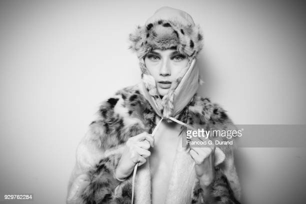 A model poses backstage before the Junko Shimada show as part of the Paris Fashion Week Womenswear Fall/Winter 2018/2019 on March 6 2018 in Paris...