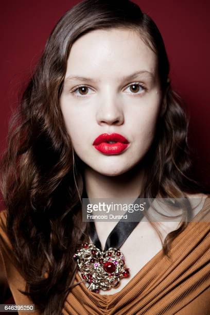 A model poses backstage before the Koche show as part of the Paris Fashion Week Womenswear Fall/Winter 2017/2018 on February 28 2017 in Paris France
