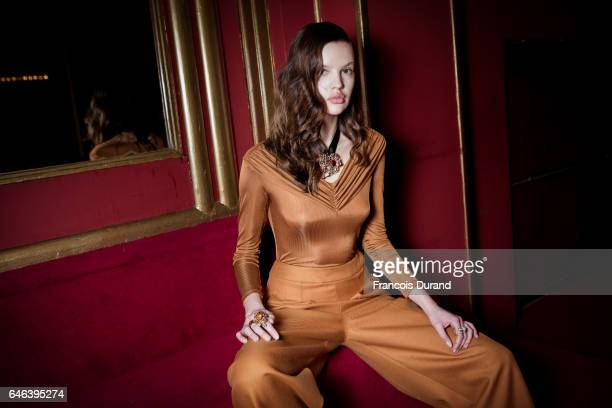 Model poses backstage before the Koche show as part of the Paris Fashion Week Womenswear Fall/Winter 2017/2018 on February 28, 2017 in Paris, France.